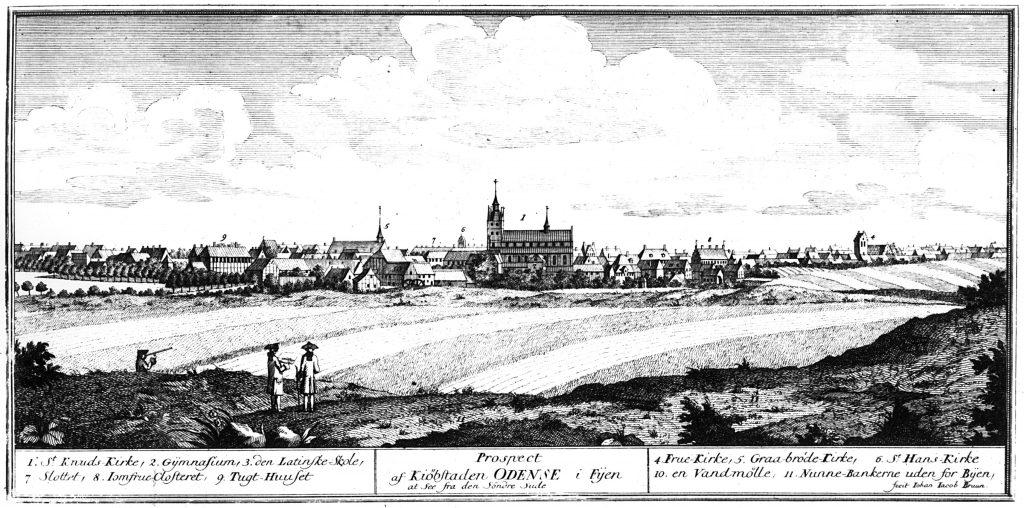 Prospekt over Odense set fra syd. (udført af Jacob Bruun, 1762)