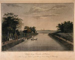 Kig ind mod Odense langs kanalen. Til venstre indgangen til Chr. Iversens landsted Marieshøj. Skt. Knuds Kirke ses i det fjerne. (maleri af H.A. Grosch efter en tegning af J.H.T. Hanck)