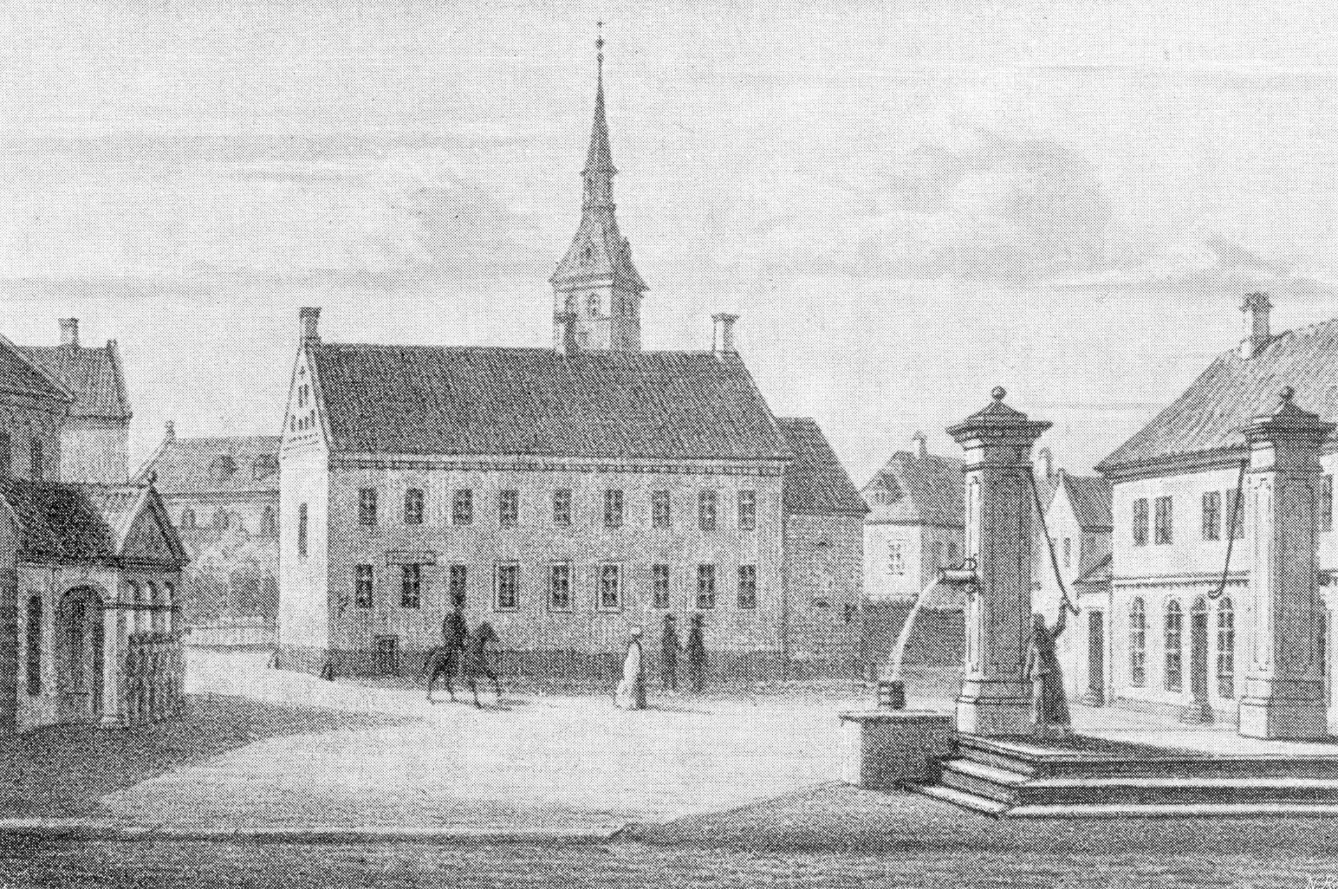Tegning af Flakhaven set mod sydøst ca. 1840. Til venstre hovedvagten på det gamle rådhus. I midten den gamle latinskole bygget af biskop Jens Andersen Beldenak, og bag skolen ses domkirken. Til højre i forgrunden to pumper til bybrønden.