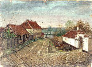 Odense Tugthus i den brostensbelagte Klaregade. For enden af gaden fornemmes Odense Å, og til højre ses bispegården. (aleri lavet af skomager Johan Peder Thomsen)