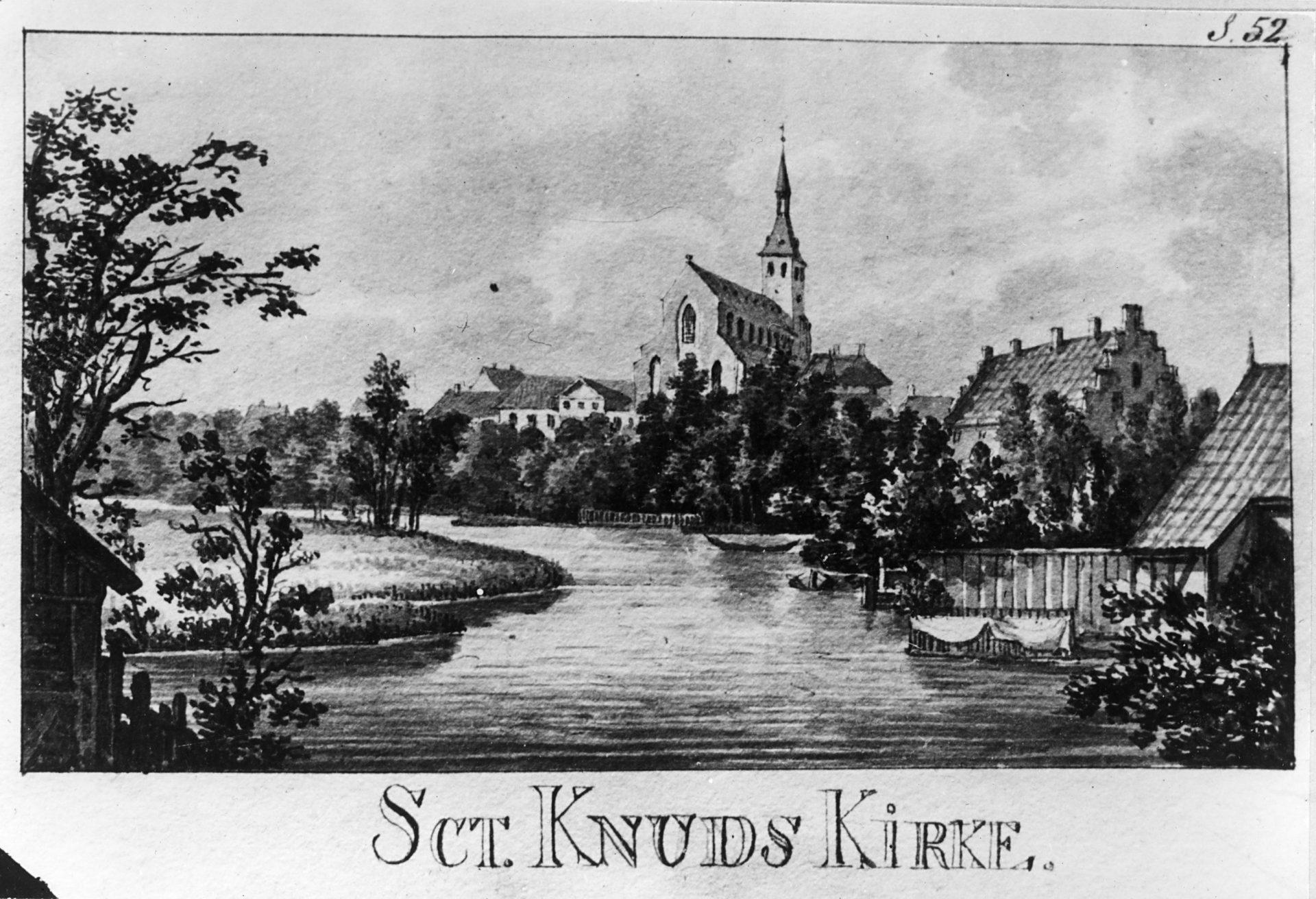 Odense Å og Skt. Knuds Kirke, 1820. (efter Finn Magnussen: Rejse, 1820)