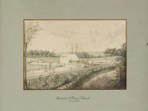 Odense Havn og Toldbod set fra Næsbyhoved Skov. (tegning af J.H.T. Hanck, 1836)