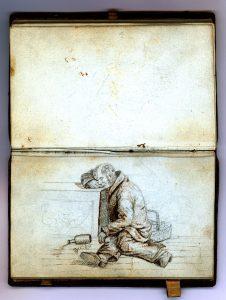 Alkoholens svøbe var en af de væsentligste grunde til, at folk havnede bag tugthusets tykke mure. Den fordrukne mandsperson er tegnet af den fynske kunstner Christoffer Faber.