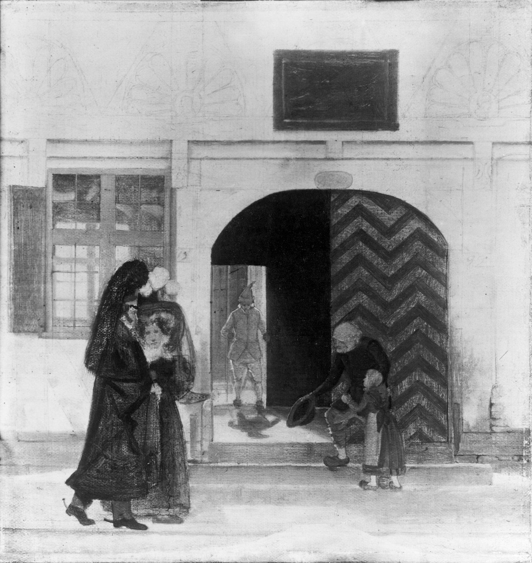 Uden for Odense bys fattiggård. Et ikke færdiggjort maleri af Wilhelm Bendz fra 1831. Viser porten til Overgade. Original på Den Hirschsprungske Samling.