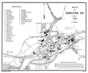 Kort over Odense, tegnet 1838.